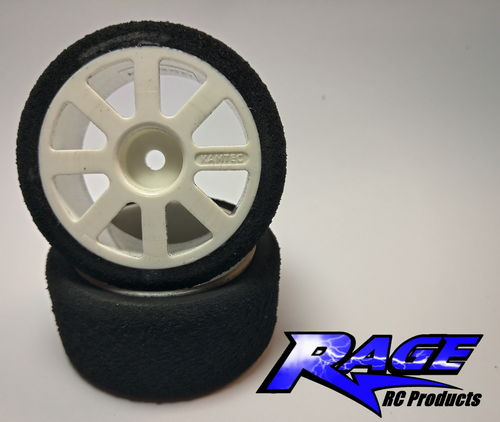 RAGE JP48FW Front Wheel (White) And Foam Tyre (Pair)