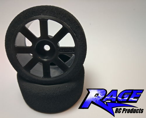 RAGE JP48FB Front Wheel (Black) And Foam Tyre (Pair)