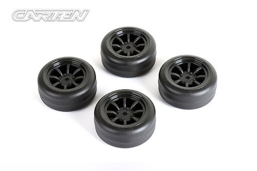 Carten M210R Black Drift Wheels and Tyres (4) +1mm